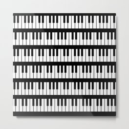 Black And White Piano Keys Pattern Metal Print