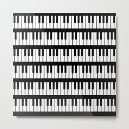 Black And White Piano Keys Pattern Metal Print