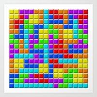 tetris Art Prints featuring Tetris by Rebekhaart
