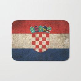 Old and Worn Distressed Vintage Flag of Croatia Bath Mat