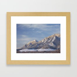 Winter Snow on Flatirons in Boulder Colorado Framed Art Print