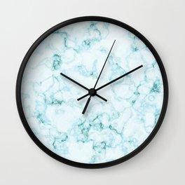 Aqua marine and white faux marble Wall Clock