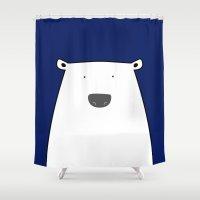 polar bear Shower Curtains featuring Polar Bear by We Design