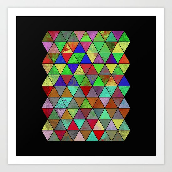 Textured Triangles 2 - Abstract, geometric, textured painting Art Print