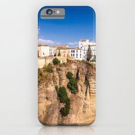 Puente Nuevo stone bridge and Pueblos Blancos in mountaintop town of Ronda in Spain iPhone Case