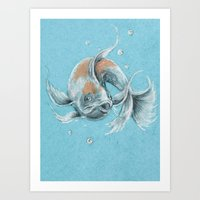 koi fish Art Prints featuring Koi Fish by Daydreamer