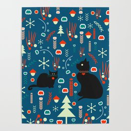 Black kitties in winter Poster