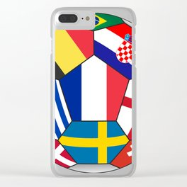 Football ball with various flags - semifinal and final Clear iPhone Case