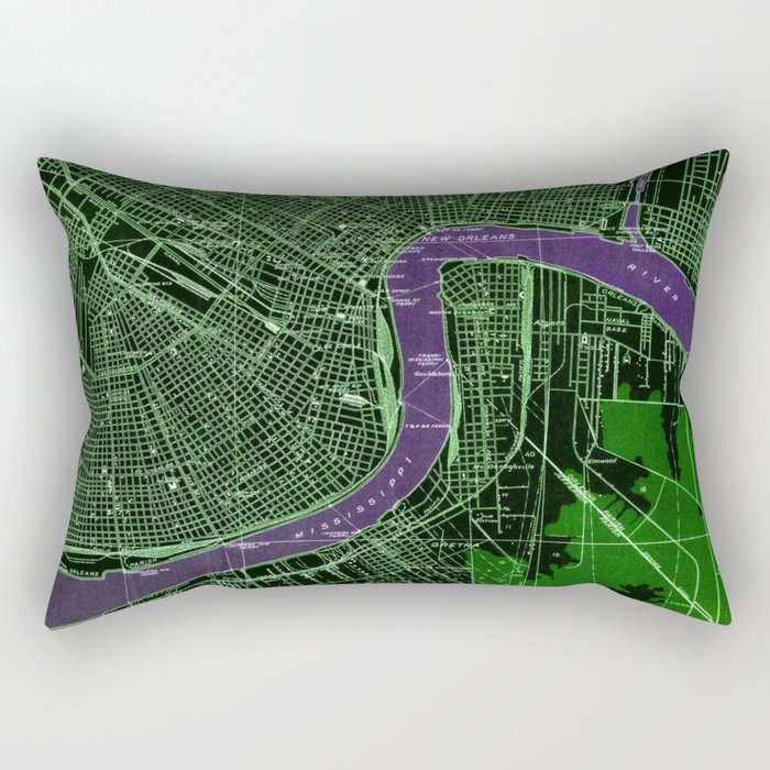 New Orleans Louisiana 1932 vintage old beautiful map Rectangular Pillow