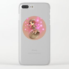 Button Girl  Clear iPhone Case