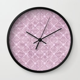 Faux Velvet Dusty Mauve Light Diamond Pattern Wall Clock