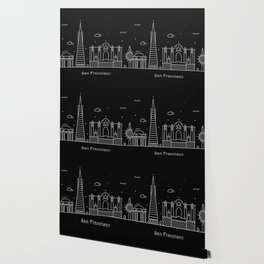 San Francisco Minimal Nightscape / Skyline Drawing Wallpaper