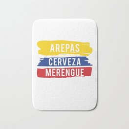 Arepas Cerveza Merengue print Gift with a Colombian flag Bath Mat