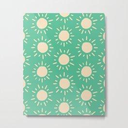 Retro Sun Pattern - Green Cream Palette Metal Print