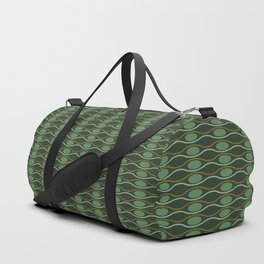 Geometric pattern with waves and pebbles in green Duffle Bag
