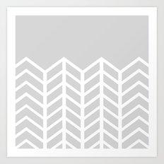 LACE CHEVRON (GRAY) Art Print
