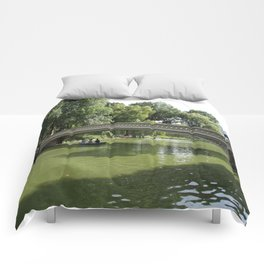 Bow Bridge And Rowboat NYC Comforters