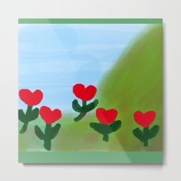 Hearts from a Rose Red and Green Metal Print