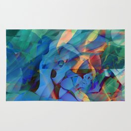 Wild Abalone Shell Abstract Holographic Texture Rug