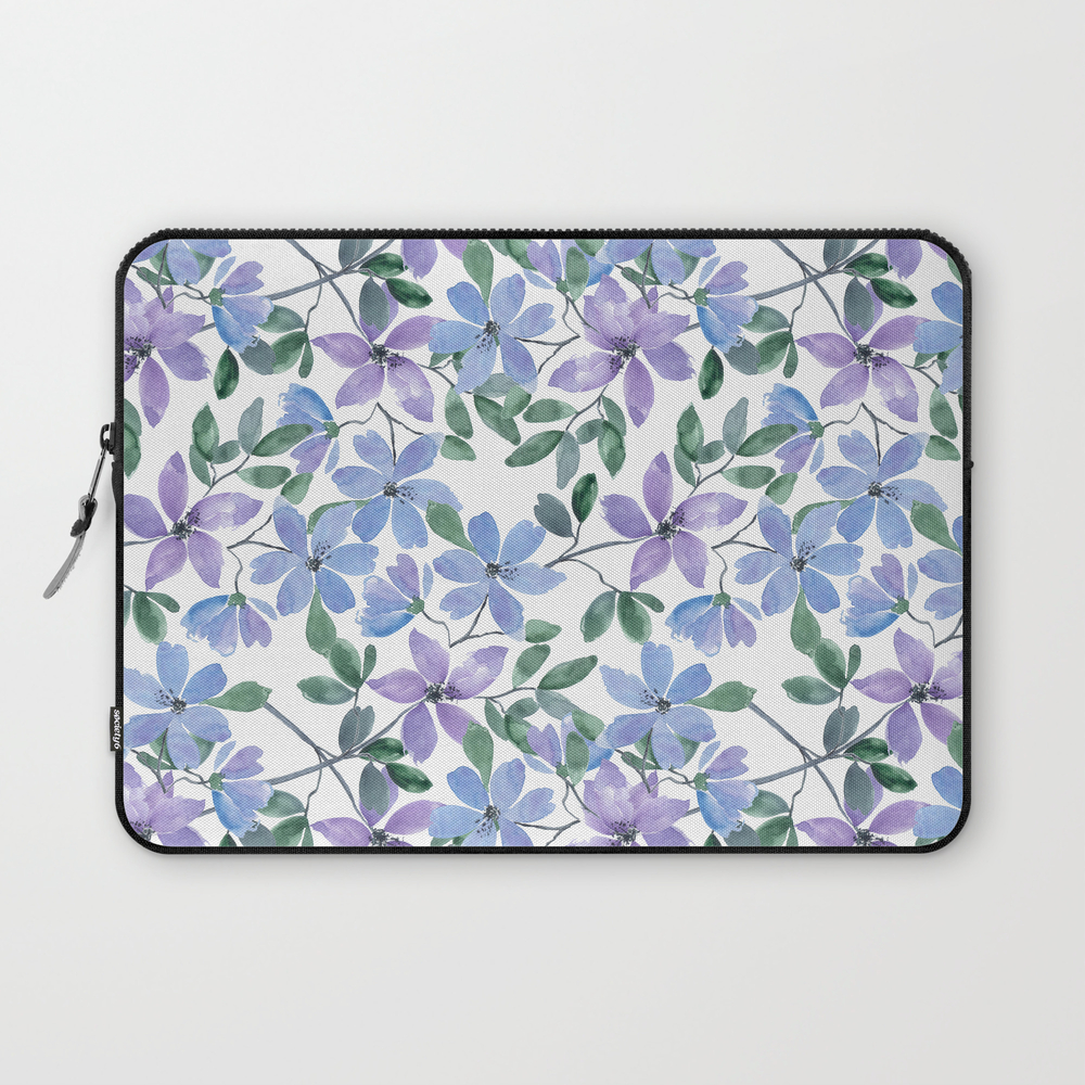 Cute Watercolor Blue, Purple Flowers On White Laptop Sleeve LSV7949113
