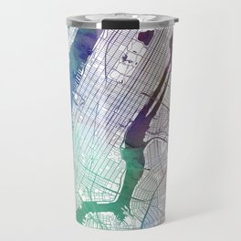 New York Map Watercolor by Zouzounio Art Travel Mug