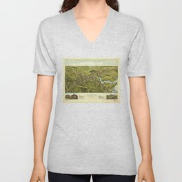 Aerial View of Clinton, Connecticut (1881) Unisex V-Neck