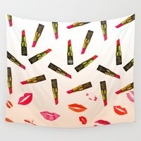 lipstick Wall Tapestries featuring Lipstick Shades by Yaz Raja Designs
