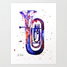 Tuba, Watercolor tuba Art Print