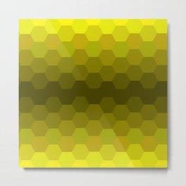 Yellow Honeycomb Fade Metal Print