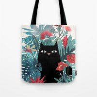 hawaiian Tote Bags featuring Popoki by littleclyde