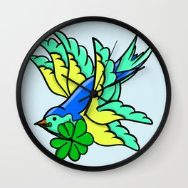 Swallow With Lucky Four Leaf Clover Wall Clock