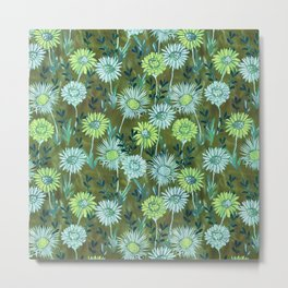 Gillian Floral Green Metal Print