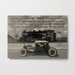 Love Car Love Car Hot Rod And Train While On This Ride Metal Print