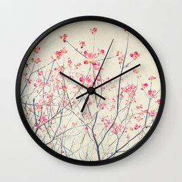 Ruby and Rose Quartz -- Red Pink Dogwood Tree in Flower Wall Clock