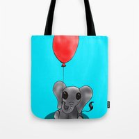 ballon Tote Bags featuring Look At My Ballon by Alexandra Sutherland