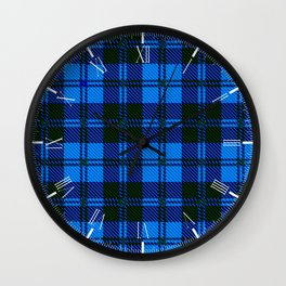 Blue Tartan Wool Material Wall Clock
