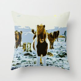 Ponies out in the snowy Field at Sunrise Throw Pillow