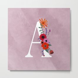 Floral Monogram Illustrated Letter Art A Initial Metal Print