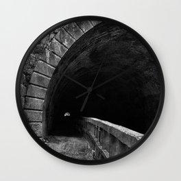 Paw Paw Grunge Tunnel - Black & White Wall Clock