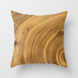 Detailed rich dark brown wood tree with circle growth rings pattern Throw Pillow