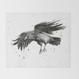 Raven Watercolor Bird Painting Black Animals Throw Blanket
