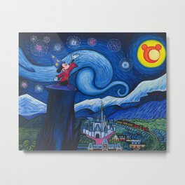 Starry Night Over The Magic Kingdom Metal Print