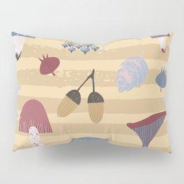 Geometrical brown blue autumn leaves mushroom stripes pattern Pillow Sham