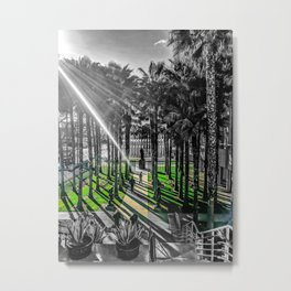 Los Angeles County Museum of Art With Urban Lights Public Art Color/Black & White Metal Print