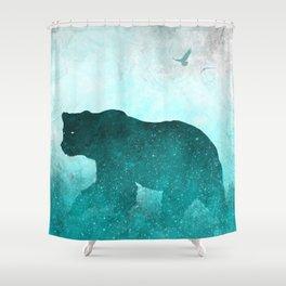 Teal Ghost Bear Shower Curtain