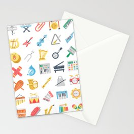 CUTE MUSICAL INSTRUMENTS PATTERN Stationery Cards