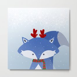 Cute Fox Wintery Holiday Design Metal Print