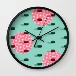 Pop Pucks #society6 #hockey #sport Wall Clock