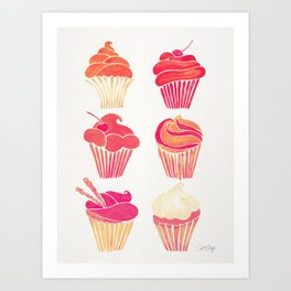 Cupcake Collection – Pink & Cream Palette Art Print