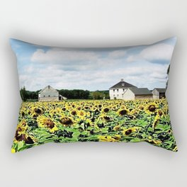 New England Sunflower fields and barns by Jéanpaul Ferro Rectangular Pillow